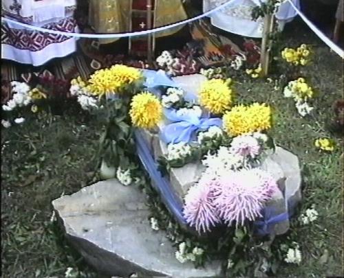 Освячення каменя під будівництво Церквм 3.11.1991 року